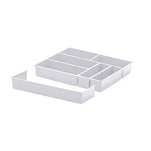 Organizador de talheres com extensor 40X33X6,5 cm Branco - 1360