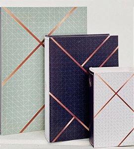 Caixa Livro Decorativa Azul 3pç