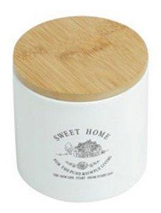 Pote de cerâmica c/ tampa de madeira