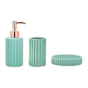 Conjunto para banheiro menta e cobre em cerâmica 3 peças