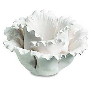 Porta velas flor em cerâmica