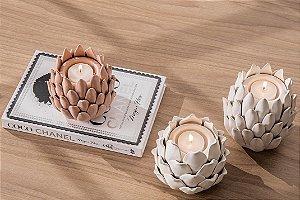 Porta velas em cerâmica nude