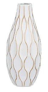 Vaso branco e dourado em cerâmica