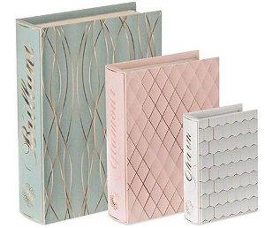 Caixa Livro Decorativa Verde, Rosa e Branca 3pç