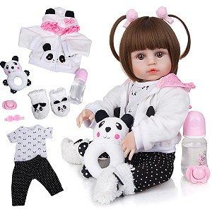 Boneca Reborn Panda Corpo De Silicone