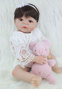 Boneca Bebe Reborn 55cm 100% Silicone ( BRINDE REBORN 28CM )  - SYFJMBT7Q