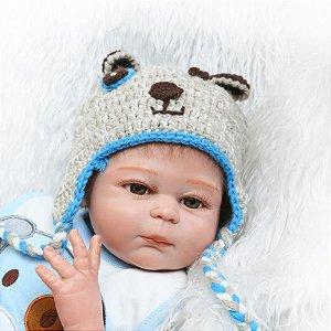 Boneca Bebe Reborn 50cm menino 100% silicone - PKGKBXVZE