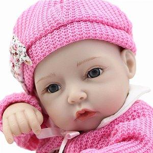 Bebê Reborn Menina 100 % silicone Modelo pequeno 27cm - HWS8FU945