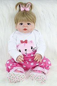 Bebê Reborn 100% Silicone Lorinha 55 Centimetro - ABMVRZ5ND