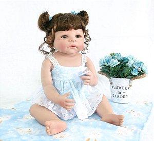 Boneca Realista Bebê 55 Centímetros 100% Silicone - RNT85U2JB