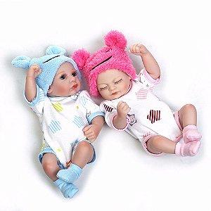 Mini Bebê Reborn Gêmeos 27cm 100% Silicone - B2DEKEPF7
