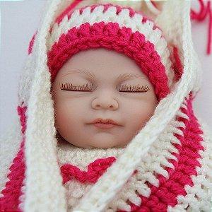 Linda Bebê Dormindo 27 centímetros 100% Silicone Menina - 79GV53MVV