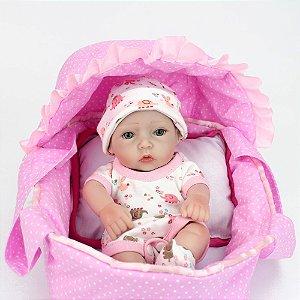 Lindo Bebê Reborn Menina Com Cesto Incluso 100% Silicone - 8C43XTTHP