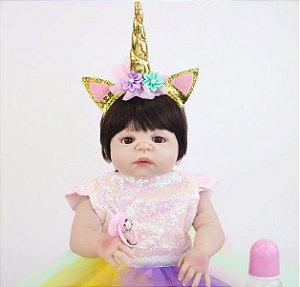 Linda Bebê Reborn Unicórnio 55cm Menina 100% Silicone - HY7JBP7BX