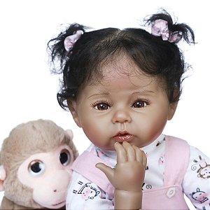Bebê Reborn Cabelo Enraizado 50 Centímetros