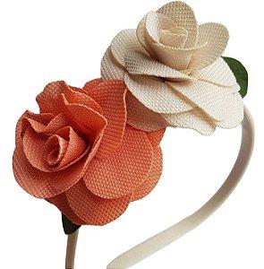 Tiara Floral Bicolor - Off White e Salmão