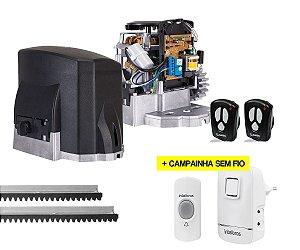 Kit Portão Eletrônico Deslizante Garen Kdz Fit 1/4Hp 3m Cremalheira + Campainha Sem Fio Intelbras