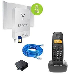 Kit Celular Rural Elsys Amplimax 4G + Telefone Sem Fio Intelbras + Cabo