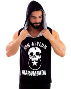 Regata Masculina Iron Asylum Marombada com capuz cor Preto