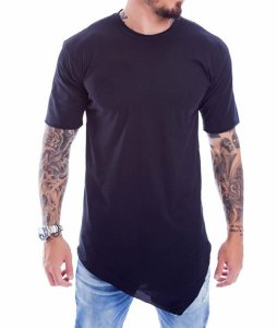 Camiseta Long Lisa Com Ponta Cor Preta