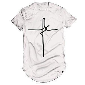 Camiseta Fé Longline Oversized Branca