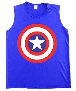 Regata Machão Capitão America Escudo cor Azul