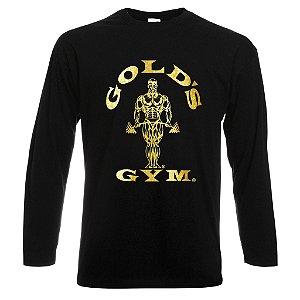 Camiseta Manga Longa Golds Gym Ouro Cor Preta