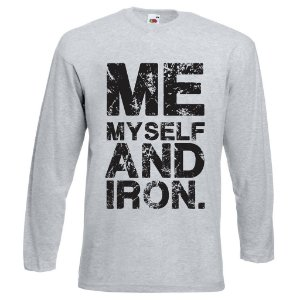 Camiseta Manga Longa ME MY SELF AND IRON cinza mescla
