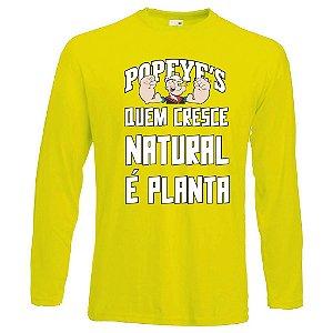 Camiseta Manga Longa Popeyes quem cresce natural é planta cor amarela