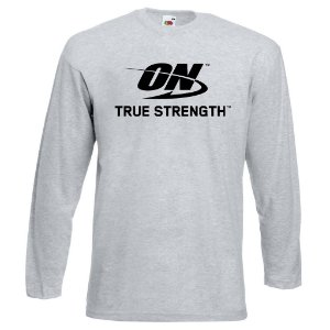 Camiseta Manga Longa ON Optimum Nutrition cor Cinza Mescla