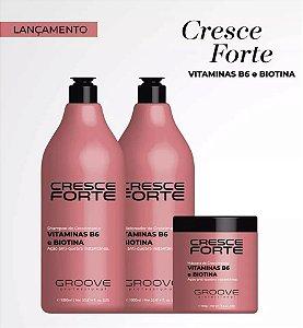 Groove Profissional | Kit Cresce Forte - Shampoo 1L, Condicionador 1L e Mascara 500g