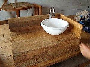 Bancada Para Banheiro - Em Madeira De Demolição - Peróba Rosa