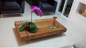 Mesa De Centro De Peroba Rosa Com Pés Em Vidro - Um Luxo!