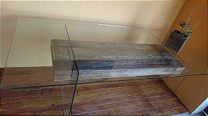 Mesa de Jantar em Vidro temperado 10mm e Madeira de demolição - Peroba Rosa
