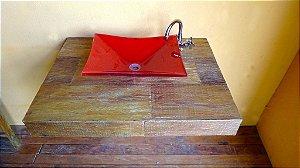Bancada p/ cuba de sobrepor ou embutir em madeira de demolição - Peroba rosa