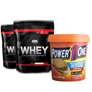 2 Whey Optimum Nutrition + Pasta de Amendoim Power One
