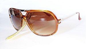 Óculos de Sol Tons Dourados com Lente Redonda