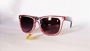Óculos de Sol Wayfarer Transparente, Vermelho e Preto