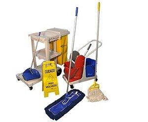 Kit 4 - Carro para Limpeza Profissional com Acessórios Bralimpia
