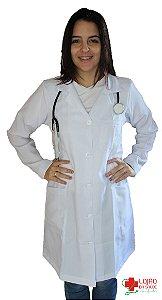 JALECO BRANCO TRADICIONAL - Tecido MICROFIBRA - Feminino de manga longa - Lojão da Saúde