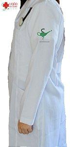 JALECO BRANCO de Tecido GABARDINE Feminino de manga longa Com logo ENFERMAGEM bordado - Lojão da Saúde