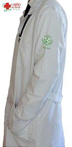JALECO BRANCO de Tecido MICROFIBRA Masculino de manga longa Com logo NUTRIÇÃO bordado - Lojão da Saúde