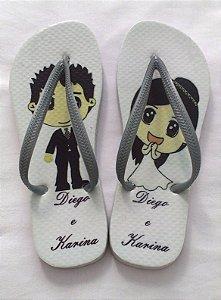 Chinelo Personalizado Casamento Noivinhos Mangá