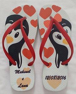 Chinelo Personalizado Casamento Pinguins