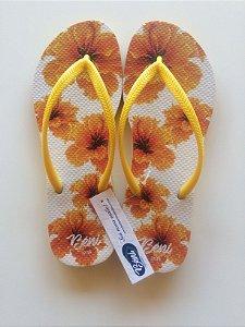 Chinelo Flores Amarelas