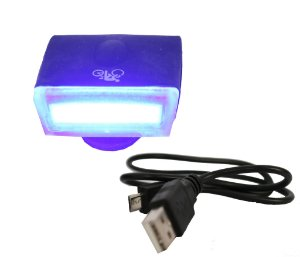 Lâmpada de Led p/ Bike/Walk Machine Carregamento USB Super Led Silicone Azul (H1089)