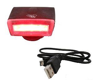 Lâmpada de Led p/ Bike/Walk Machine Carregamento USB Super Led Silicone Vermelho (H1089)