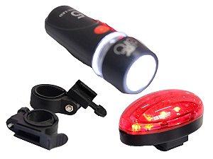 Kit Lâmpada de Led p/ Bike/Walk Machine - Farol Dianteiro e Lanterna Traseira com 3 Funções (H1044)