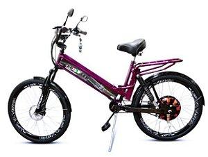 Bicicleta Elétrica 850W Com Suspensão e Garupa Roxa