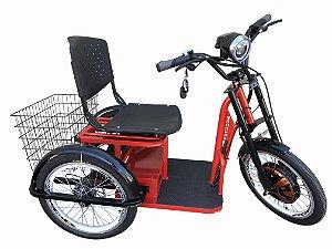 Triciclo Elétrico 850W  Com Suspensão Independente e Ré - Vermelho (Com Farol/alarme)